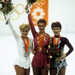 Achievement (From left to right) Rosalyn Sumners of the United States (silver), Katarina Witt (gold) and Kira Ivanova of the USSR (bronze) at the medals ceremony for the Women's Figure Skating. Photo by S&G/PA Images. of Katarina Witt