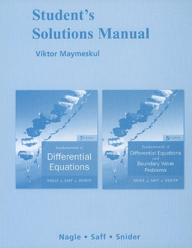 book Student\'s Solutions Manual for Fundamentals of Differential Equations and Fundamentals of Differential Equations with Boundary Value Problems