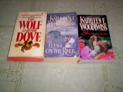 book Kathleen E Woodwiss - (Set of 3) - Not a Boxed Set (The Wolf and the Dove - Petals on the River - Shanna)
