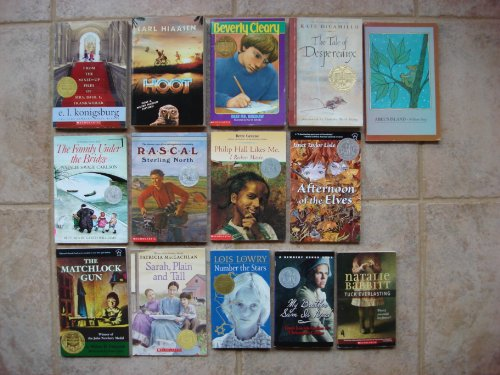 book Set of 14 Newbery Medal\/Honor Books (Tuck Everlasting, Dear Mr. Henshaw, Hoot, Sarah Plain Tall, Number the Stars, Abel\'s Island, Matchlock Gun, Rascal, Philip Hall Likes Me, Tale of Despereaux, Family Under Bridge, From Mixed-Up Files, Afternoon of the E