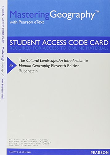 book MasteringGeography with Pearson Etext -- Valuepack Access Card -- for the Cultural Landscape: An Introduction to Human Geography