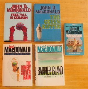 book Travis McGee! 5 John B. MacDonald novels: The Turquoise Lament, Free Fall in Crimson, The Lonely Silver Rain, The Green Ripper, Barrier Island