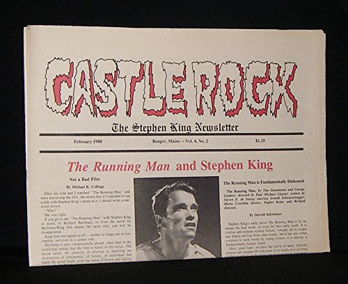 book CASTLE ROCK: THE STEPHEN KING NEWSLETTER February 1988   , Vol. 4, No. 2, Includes Articles  the Running Man & Stephen King, Not a Bad Film, ETC. Castle Rock Was Published in Bangor Maine, From 1985 to 1989, and it Was the Only Official Stephen King Newsl