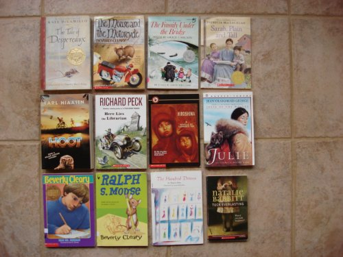 book Set of 12 Books by Newbery Medal authors (Hoot, Tuck Everlasting, Dear Mr. Henshaw, Mouse and the Motorcycle, Ralph S. Mouse, Sarah Plain and Tall, Tale of Despereaux, Family Under the Bridge, Hiroshima, Julie, Here Lies the Librarian, The Hundred Dresses
