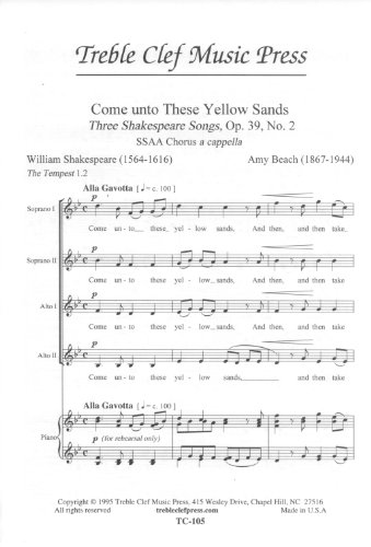 come unto these yellow sands ssaa a cappella three shakespeare songs op39 no2 tc 105