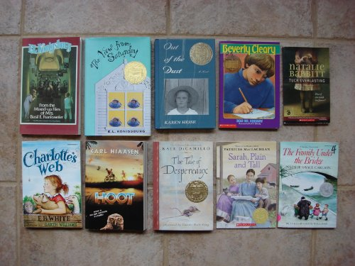 book Set of 10 Newbery Medal\/Honor Books (Hoot, Tuck Everlasting, Dear Mr. Henshaw, Sarah Plain and Tall, Charlotte\'s Web, Tale of Despereaux, Family Under the Bridge, From the Mixed-Up Files, Out of the Dust, The View From Saturday)
