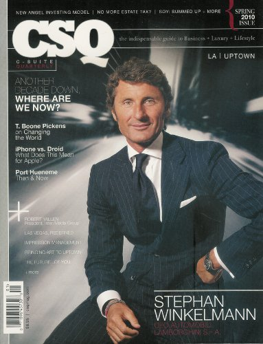 book CSQ C-suite Quarterly Stephan Winkleman Magazine Nov 2010 And Other Additional Issues Available! Feel Free to Contact By Email