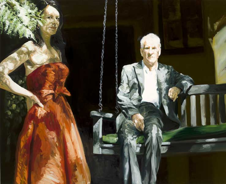 painting Portrait of a Couple Steve and Anne in LA