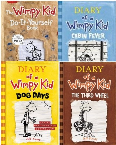 book Diary of a Wimpy Kid 4 Book Collection (Dog Days; Third Wheel; Cabin Fever; Do-It-Yourself)