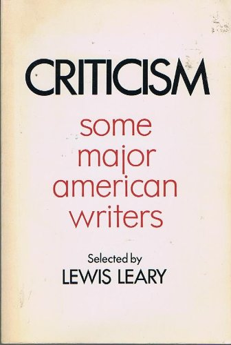 book Criticism; some major American writers