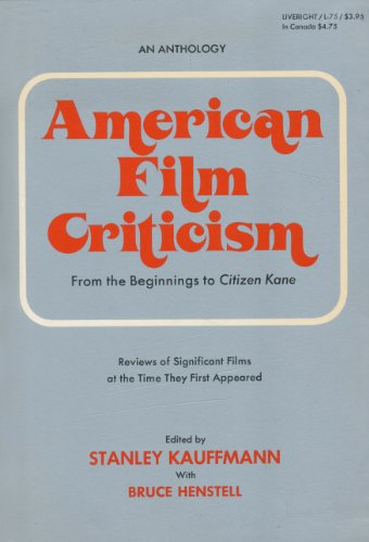 book American Film Criticism From the Beginnings to Citizen Kane;
