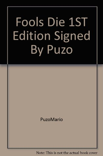 book Fools Die 1ST Edition Signed By Puzo
