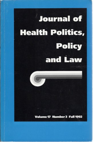 book Journal of Health Politics, Policy and Law (Fall 1992) ((Academic Journal))